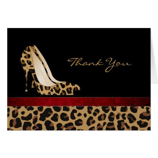 Fashion Jaguar Pattern Stiletto Thank You Card