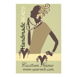 Fashion Jewel  Model with Modern Beaded Art Flyer Design