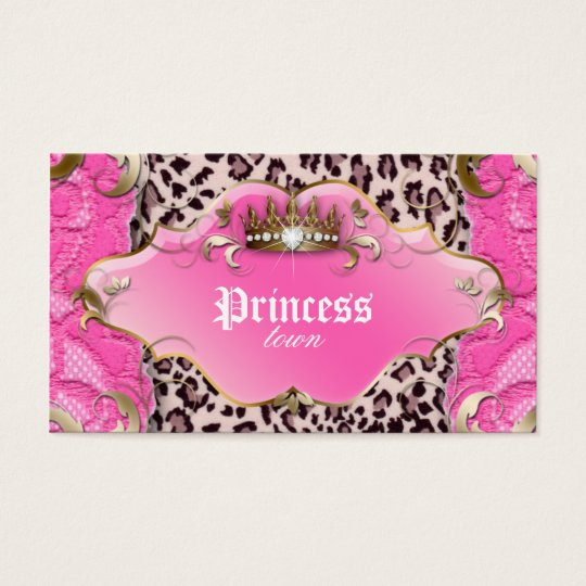 Fashion Jewellery Business Card Leopard Lace Pink