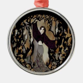 Fashion Lady Dancer on Purple, Gold, Grey, Black Silver-Colored Round Decoration