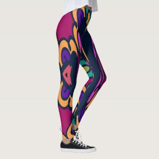Fashion Leggings-Magenta/Gold/Purple/Aqua Leggings