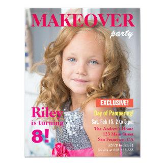 Fashion Magazine Makeover Girls Birthday Party 11 Cm X 14 Cm Invitation Card
