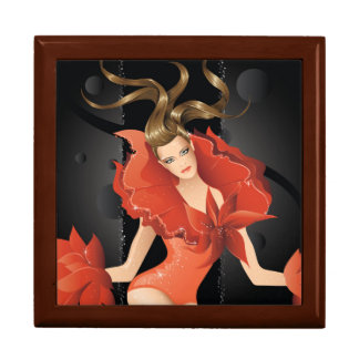 Fashion Model in Red Dress Large Square Gift Box