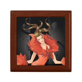 Fashion Model in Red Dress Small Square Gift Box