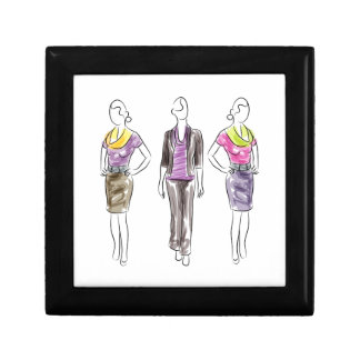Fashion Model Sketches Jewelry Box