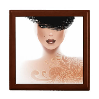 Fashion Model with Tattoo and black hair Large Square Gift Box