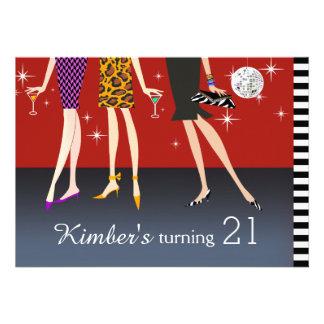 Fashion Party Girls 21st Birthday Invite