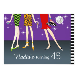Fashion Party Girls 45th Birthday 13 Cm X 18 Cm Invitation Card
