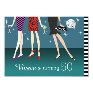 Fashion Party Girls 50th Birthday 13 Cm X 18 Cm Invitation Card