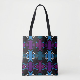Fashion Pattern Tote -Purple,Blue,Teal,Black,White