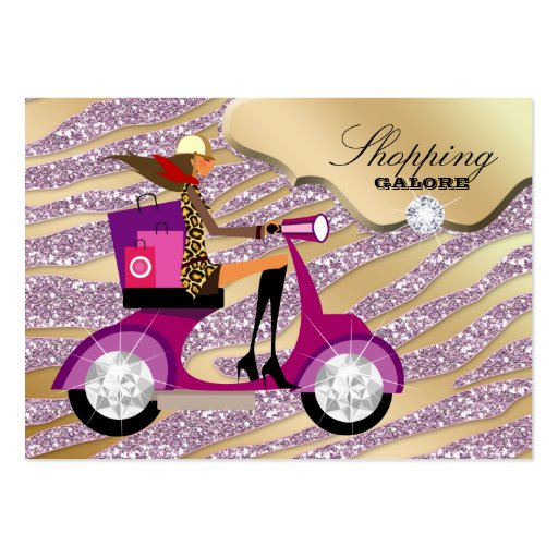 Fashion Personal Shopper Jewelry Gold Pink Glitter Business Card Template