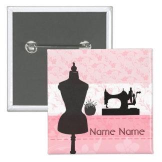 Fashion Pink Floral -  Seamstress Dressmaker 15 Cm Square Badge