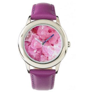 Fashion pink gemstone watch