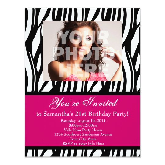 Fashion Pink Zebra Custom Party Invitations