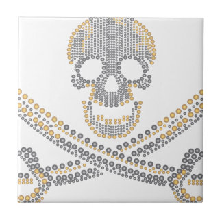 fashion pirate skull gold  diamond and pearls small square tile