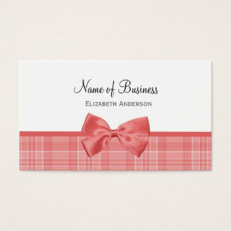 Fashion Plaid Pattern With Cayenne Pink Bow Business Card