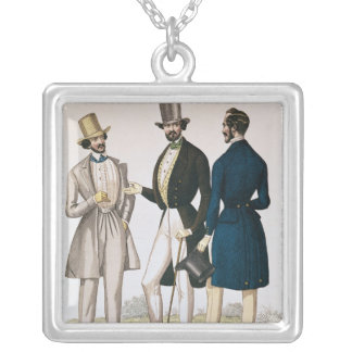 Fashion plate depicting male clothing silver plated necklace