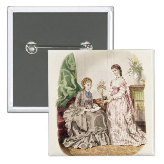Fashion plate showing ballgowns 15 cm square badge