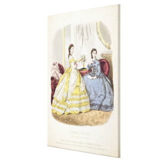 Fashion plate showing ballgowns gallery wrap canvas