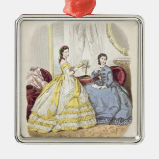 Fashion plate showing ballgowns christmas ornament