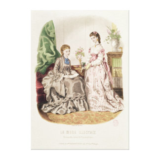 Fashion plate showing ballgowns stretched canvas print