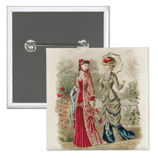 Fashion plate showing hats and dresses 15 cm square badge