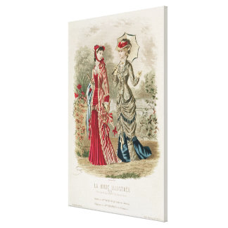 Fashion plate showing hats and dresses stretched canvas print