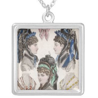 Fashion plate silver plated necklace