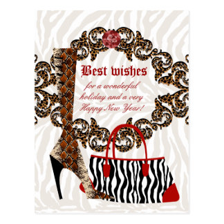 Fashion Postcard Leather Boot Zebra Purse