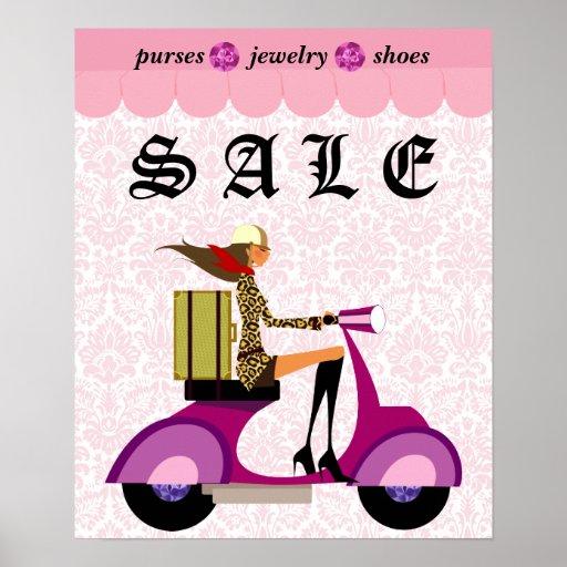 Fashion Poster Sale Scooter Woman Pink Diamonds