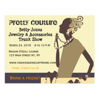 Fashion Pretty Couture  Jewelry Trunk Show Post Cards
