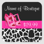Fashion Price Tags Giraffe Print Girly Pink Pumps