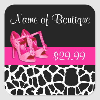 Fashion Price Tags Giraffe Print Girly Pink Pumps Square Sticker