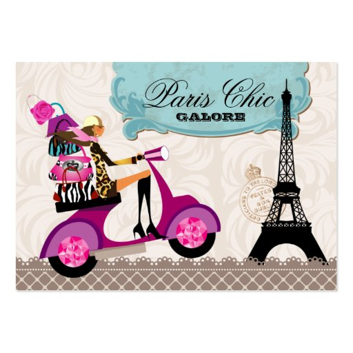 Fashion Purses Jewelry Scooter Paris Eiffel Tower Business Card Template