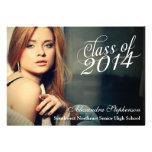 Fashion Script Class of 2014 Graduation Photo Personalized Invites