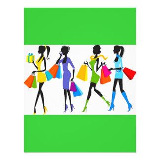 Fashion Shopping Girls Illustration Flyer