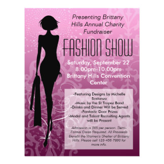 Fashion Show Flyer, Pink Silhouette Swirl Flyer