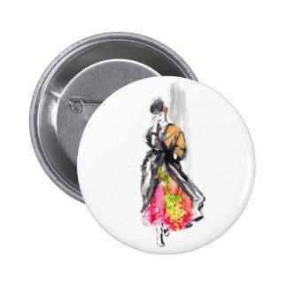 fashion sketch 6 cm round badge