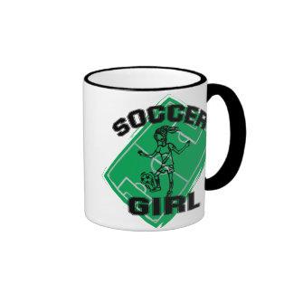 Fashion Soccer girl football design Ringer Coffee Mug