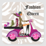 Fashion Stickers Scooter Woman Shoes Zebra