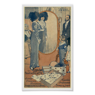 Fashion store Haute Couture Paris 1900 woman Poster