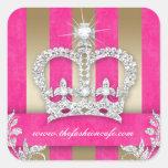 Fashion Stripes Sticker Jewellery Pink Crown Gold