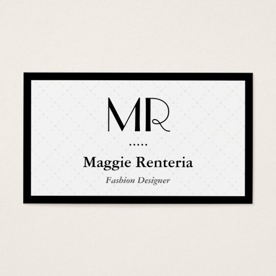 Fashion Stylish Monogram Clean White Black Border Business