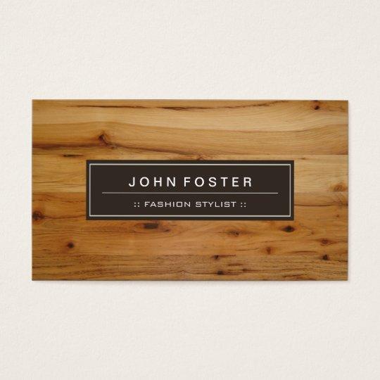 Fashion Stylist - Border Wood Grain Business Card