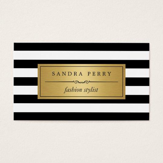 Fashion Stylist - Modern Black White Stripes Business
