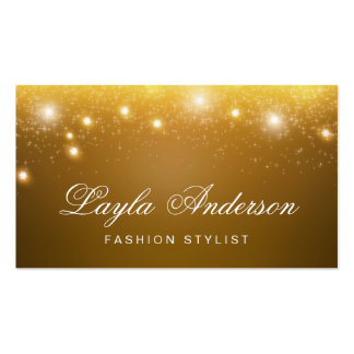 Fashion Stylist - Shimmering Gold Glitter Sparkles Double-Sided Standard Business Cards (Pack Of 100)
