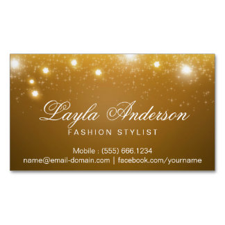 Fashion Stylist - Shimmering Gold Glitter Sparkles Magnetic Business Cards (Pack Of 25)