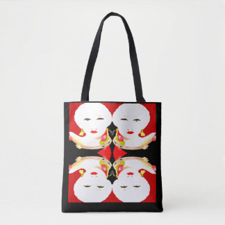 Fashion Tote Bag -White Glamour Faces on Red/Black