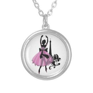 Fashion vintage stylish illustration. Ballerina Silver Plated Necklace