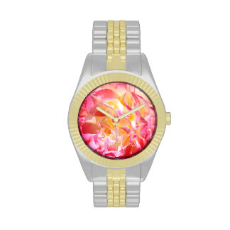 Fashion Watches Pink Yellow Rose Flower Petals